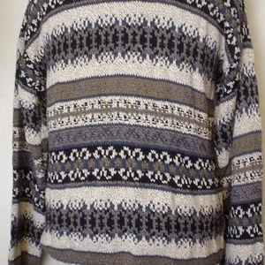 Fieldmaster Heathered Blue Taupe Cotton Sweater L